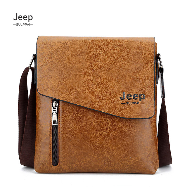 0a7885de1b93 JEEP Sulppai Man Messenger Vertical Leather Bag Business Men s Briefcase  Designer Handbags High Quality Shoulder Bags