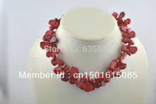 Red Coral Tear Drop Beads Necklace with Extender 925 Silver Chains AND Sterling Silver Lobster Clasp Free Shipping