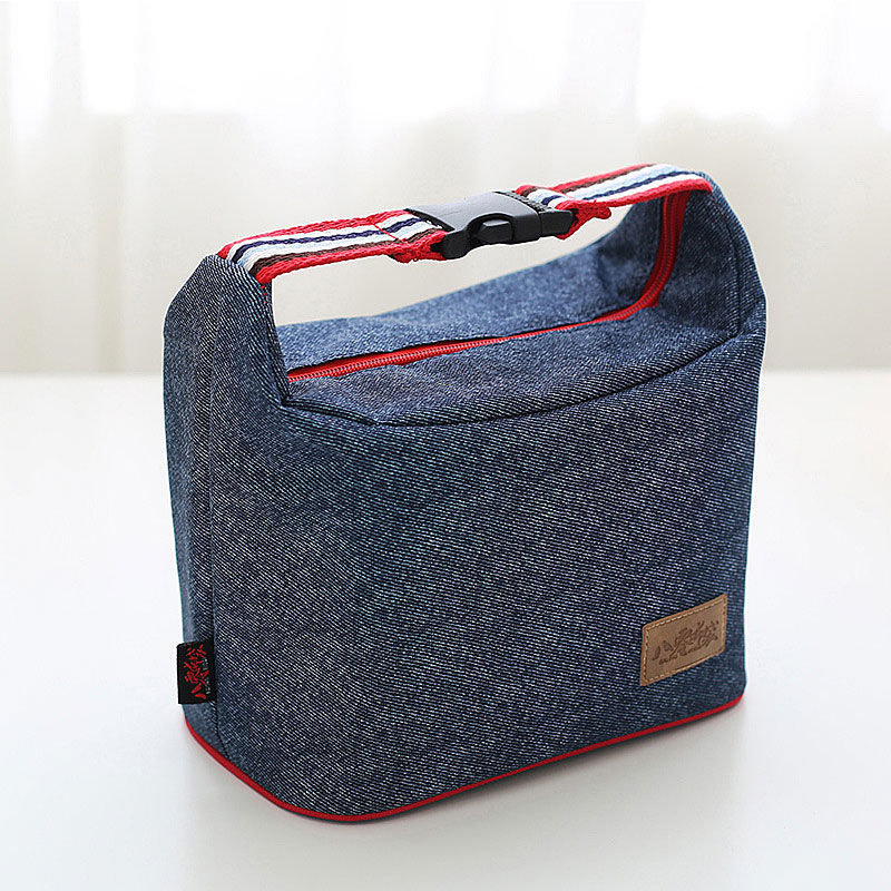 WULEKUE Denim Lunch Bag Kid Bento Box Insulated Pack Picnic Drink Food Thermal Ice Cooler Leisure Accessories