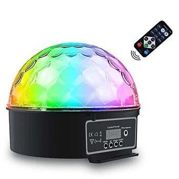9 kolorów kula dyskotekowa światła DMX512 pilot zdalnego sterowania LED etap światła obracać się o magiczna kula lampy błyskowej dźwięki sterowanie DJ Xmas Party Holiday