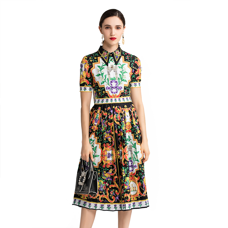 Fashion Runway Women's Dress Summer Flower Printed Beading Vintage Turn down Collar Female Elegant Pleated Dresses Vestidos