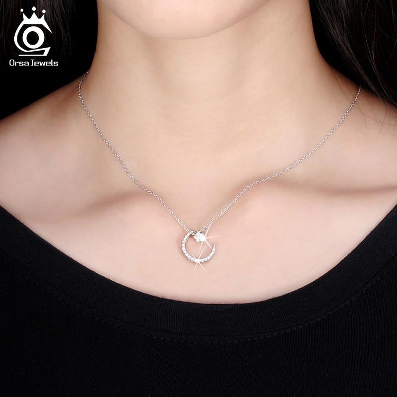 ORSA JEWELLS 925 Sterling Gümüşü Ay Ulduz Asqılı Boyunbağı - Gözəl zərgərlik - Fotoqrafiya 5