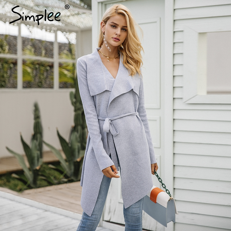 Simplee Elastic Knitting Long Casual Cardigan S18ST0043