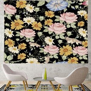 Image 2 - Nordic styl lato tropikalny kwiat babki makrama gobelin w stylu Vintage Retro poliester rose dekoracja domu do powieszenia na ścianie GN. PAPAYA