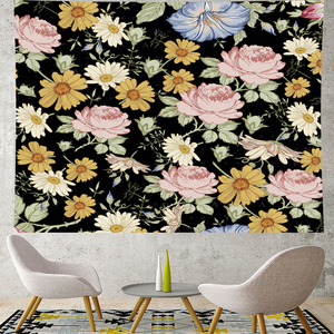 Image 2 - Nordic สไตล์ฤดูร้อน tropical ดอกไม้ plantain macrame Tapestry Vintage Retro โพลีเอสเตอร์ rose Wall แขวนตกแต่งบ้าน GN มะละกอ