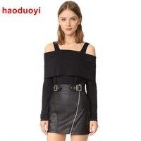 HDY Haoduoyi Black T Shirt Women New Fashion Long Sleeve Off Shoulder Top Sexy Stretch Tee