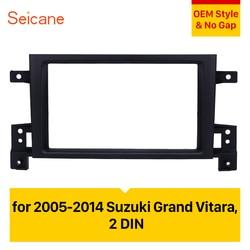 Seicane 2 Din Car Stereo Fascia DVD Player Panel Dash Kit for 2005-2008 2010-2014 Suzuki Grand Vitara Audio Frame Trim Bezel