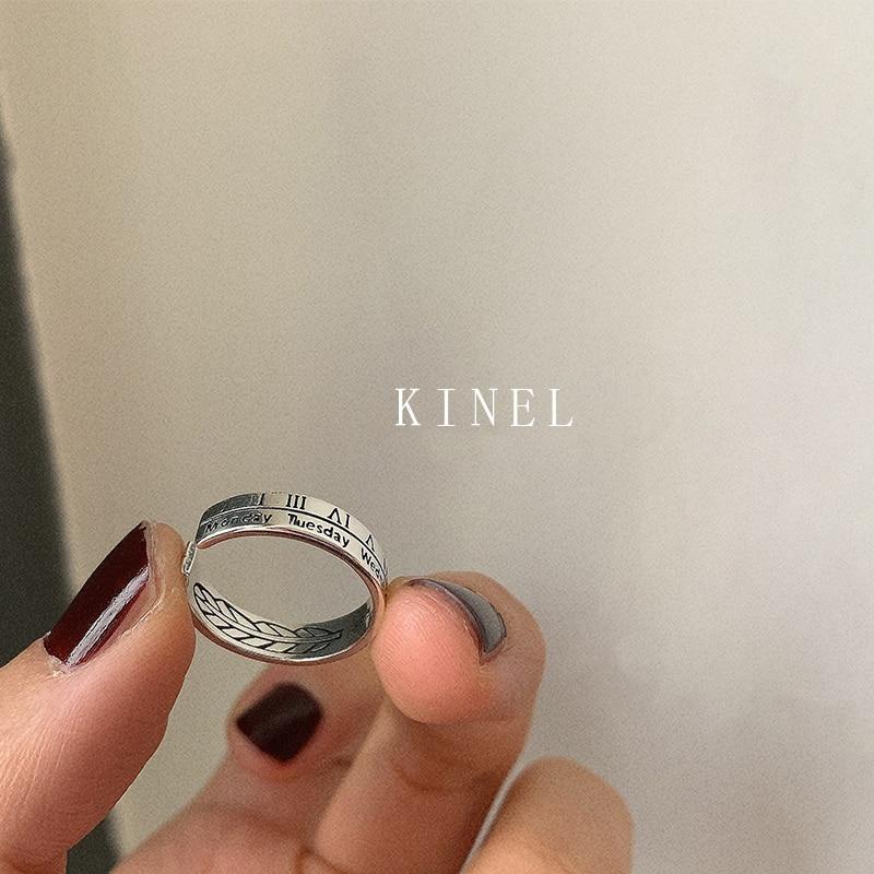 Женское Винтажное кольцо Kinel из стерлингового серебра S925 пробы, простое Двухслойное Открытое кольцо в римском стиле с цифровым английским алфавитом|Кольца|   | АлиЭкспресс