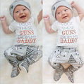 2PCS Baby Set!!2016 Infant Baby Boys Girls Cotton White Short Sleeve Letter T-Shirt Tops+ Long Print Pant