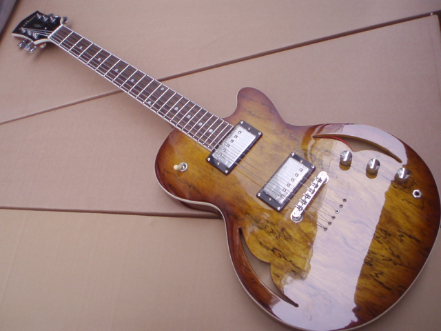 New Custom Small Jazz Electric Guitar Anti-Strung Semi Hollow Body In Brown Burst 100522 new arrival g custom l5 jazz guitar ces archtop semi hollow electric guitar orange color in stock free shipping