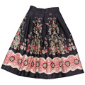 Vintage Summer Style  Shivering Floral Lolita Skirt High Elastic Waist A-Line Midi Pleated Skirts Women 2016