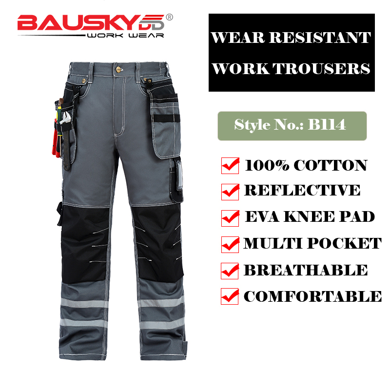 Bauskydd Mens Male Durable workwear multi pocket trousers with knee pads reflective strips 100 cotton work