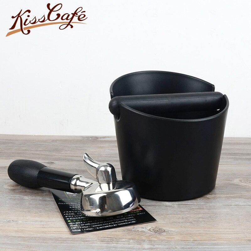 15x15x11cm Black Coffee Tamper Knock Box Deep Bent Design Coffee Slag isn't Splash Manual Coffee Grinder Coffee Accessories