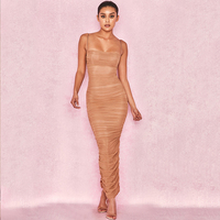 2019 Summer Dress Women Long Club Elegant Bodycon Maxi Dress Slit Strap Sexy Mesh Organza Dress Brown For Party Night