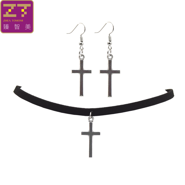 Fashion Black Velvet Leather Bijoux Vintage Retro Cross Choker Necklace Jewelry Sets 1