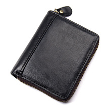 JMD 100% Cowhide Leather Zipper Around Wallet Coffee RFID Blocking Card Holder R-8117Q