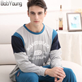 BabYoung 2017 Spring Brands Men Pajamas Sets Two-piece O-neck Casual Cotton Sleepwear Long Sleeve Pajamas Pants For Hombre XXXL