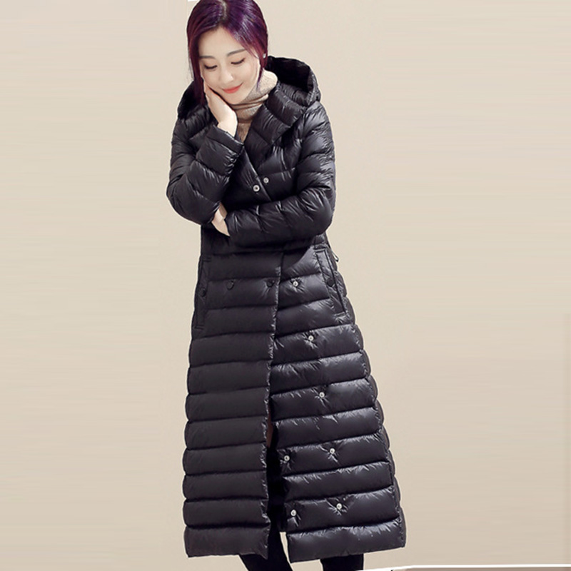 Autumn Winter Female   Down   Outwears Women Slim Light Thin   Down   Jackets Long Casual Hooded 90% White Duck   Down     Coats   LJ2044