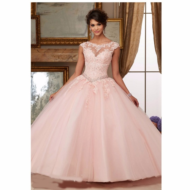 2017 Cap Sleeves Scoop Aqua Scarlet Blush Lace Ball Gown Prom Dress ...