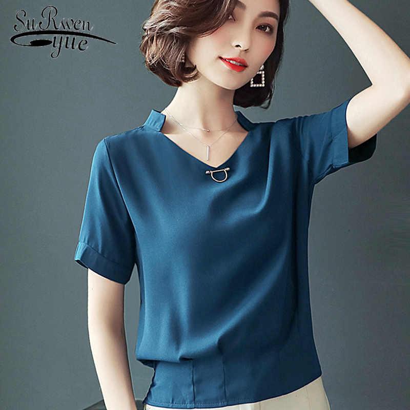 897631e69fa Fashion 2019 women shirts blouses short sleeve blue chiffon women s  clothing shirt plus size v-