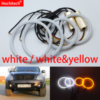 for Ssangyong Rexton 2006 2011 White & yellow Cotton LED Angel eyes kit halo ring Turn signal light