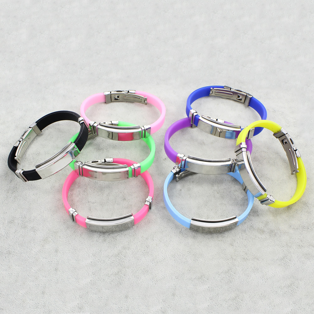 Stainless Steel Jewelry Bracelet with Silicone plated for woman more colors for choice 38x15x5mm Sold Per Approx 7.5 Inch Strand