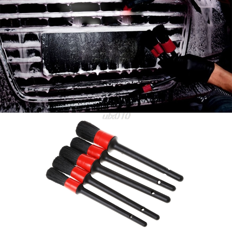 Natural Boar Hair Detail Brush Auto Detailing Brush Set Perfect for Car Motorcycle Cleaning Wheels Dashboard 5PCS/SET July