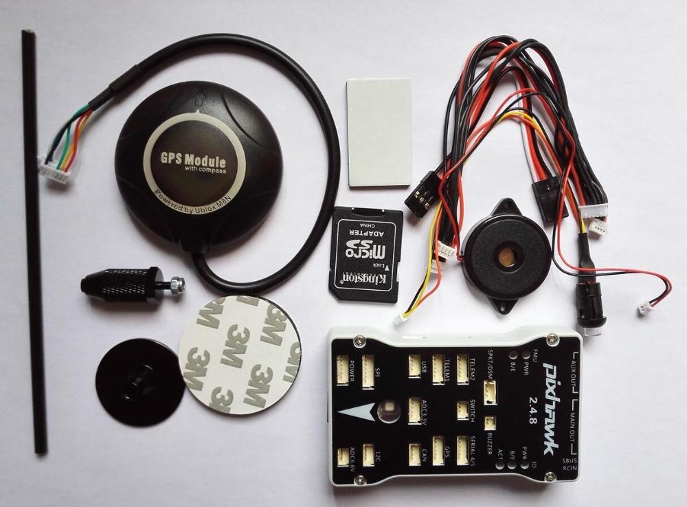 Envío Gratis Pixhawk 2.4.8 PX4 piloto automático PIX 32 Bit Flight Controller con NEO M8N GPS construido en la brújula/soporte GPS