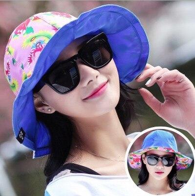 Kesebi 2017 Spring Summer Women Floral Sunscreen Beach Folding Sun Hat Bucket Hats Female Casual Basic Soft Caps Hats
