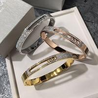 Mcllroy 18cm CZ Zircon 316L Titanium Stainless Steel Cuff Bangle Crystal Bracelets & Bangles For Women Men Jewelry