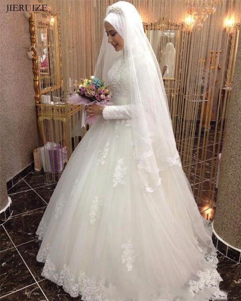 JIERUIZE White Lace Appliques Muslim Wedding Dresses 2019 High Neck Long Sleeves Ball Gown Arabic Wedding Gowns abito da sposa