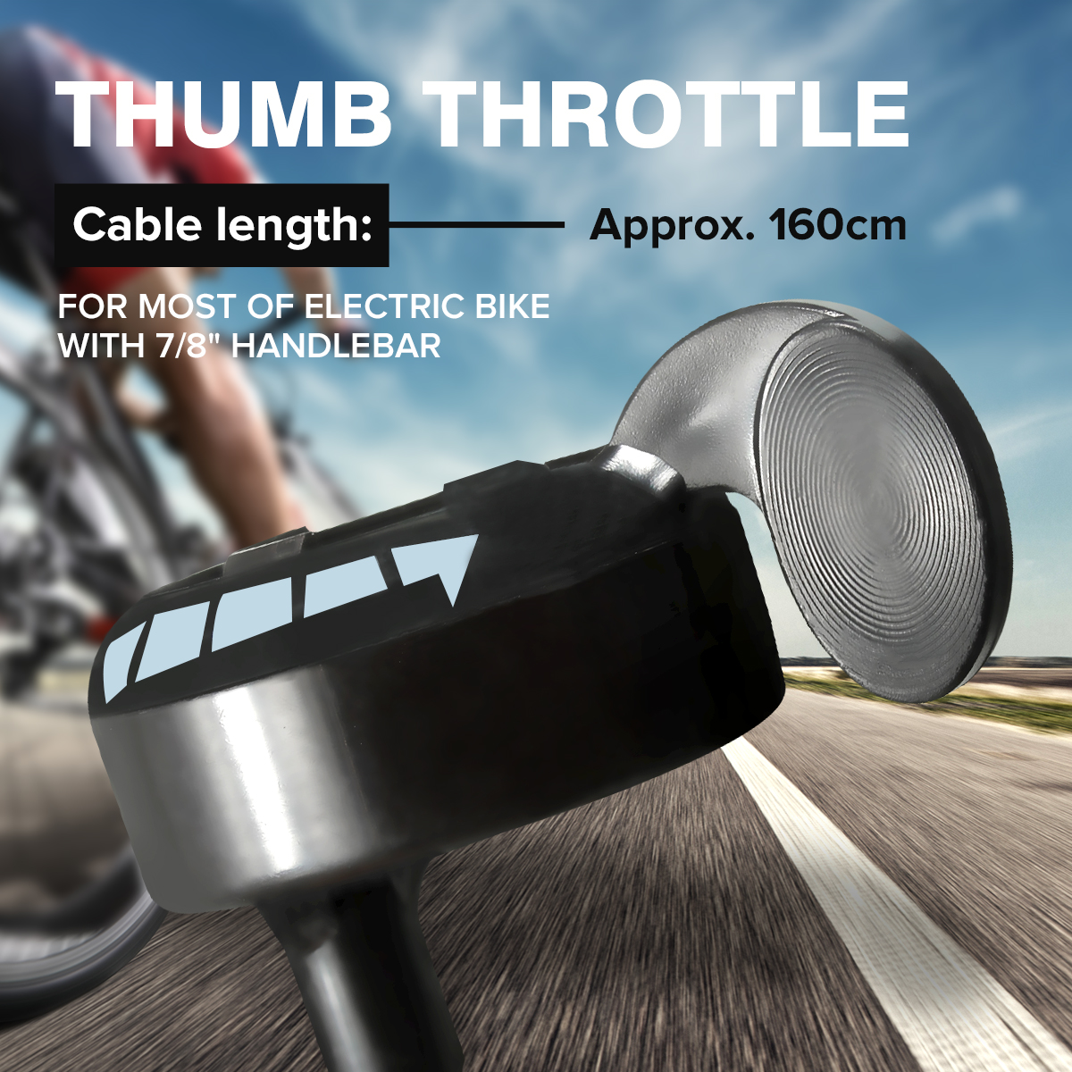 Universal Motorcycle 7/8 Handlebar Black Metal Thumb Throttle E-Bike Electric Bike Scooter 24v 36v 48v цена