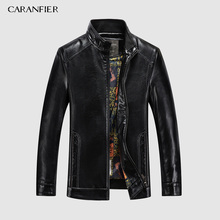 CARANFIER 2019 New Winter Mens Sheepskin Jackets Fashion Solid Genuine Leather Jacket Streetwear Slim Fit Biker Male