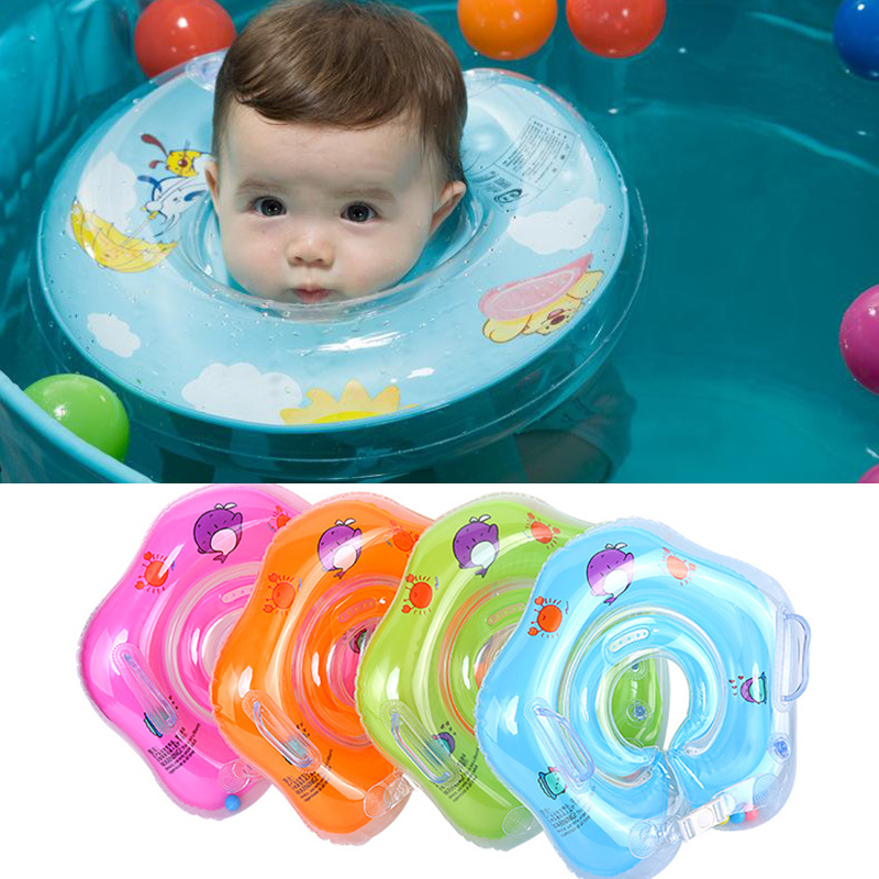 Swimming Neck Donut Pool Floats PVC For Baby Swim Life Buoy Cycle Swim Tube Ring Float With Gripper For 1-18 Months Infant