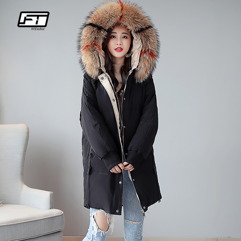 Fitaylor Plus size 5XL Women   Down     Coat   Winter Thick Warm Parkas Large Artificial Fur Collar Hooded White Duck   Down   Snow Overcoat