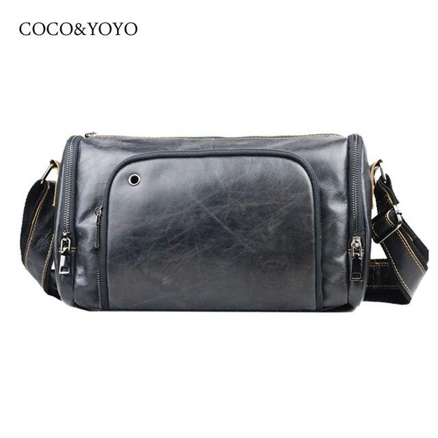 Cowboy 100% Fashion Genuine Leather Men Messenger Bag Vintage Design Pillow Bags men horizontal casual Travel Crossbody bags
