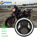 Black motorcycle headlight high low beam with Halo Ring Front led headlamp for Honda Motor CB400 CB500 CB1300 Lights