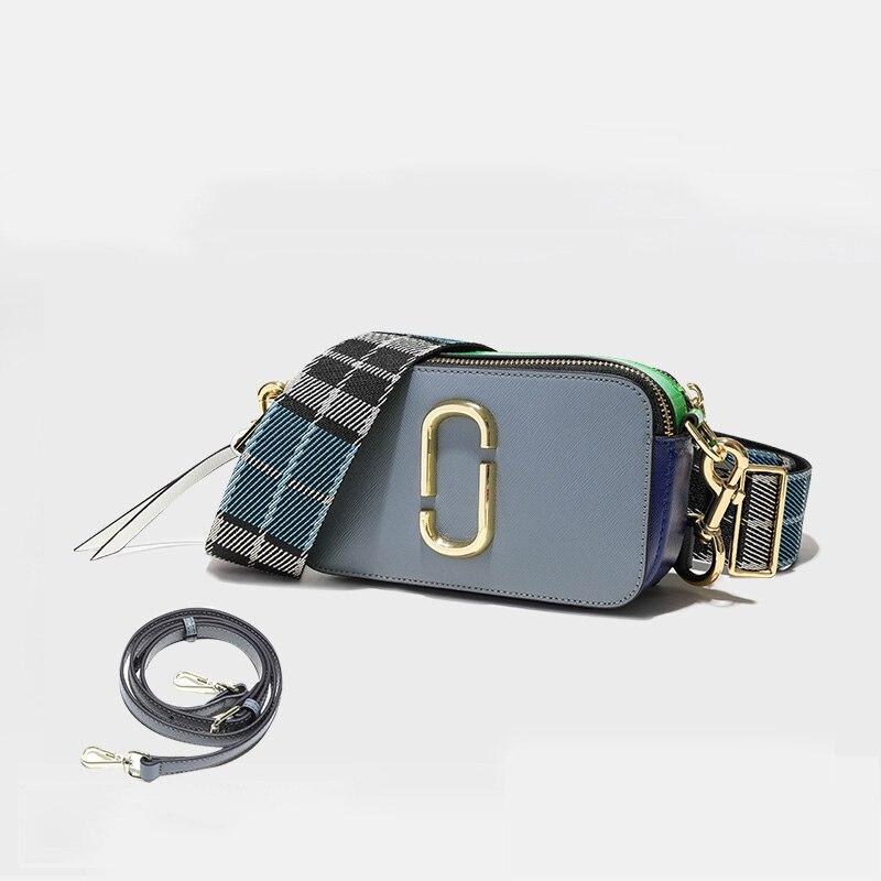 2018 New Camera Bag Wide Shoulder Strap Small Square Split Leather Ladies Messenger Bags Double Zipper