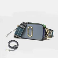 2018 Новый Камера сумка широкий плечевой ремень небольшой площади Разделение кожа дамы посланник сумка с двойным замком сумка женские сумочки
