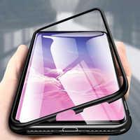 360 magnetyczne adsorpcji metalowe etui na telefon dla Huawei Honor Mate 20Pro 10 Lite P20 P30 Pro Case magnes szkło hartowane przezroczyste