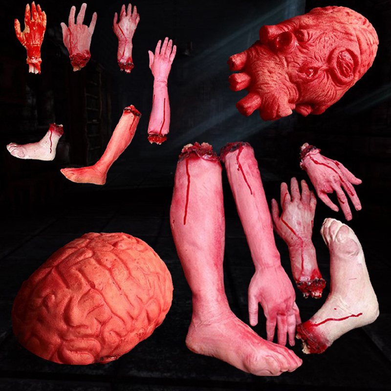 Horror trick Toy Scary Prop Latex Stump Bloody Cut Hand feet Bone Halloween Gift Practical Joke rubber artificial funny toys ...