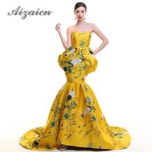 Backless Strapless Trailing Evening Gown Mermaid Yellow Chinese Dress Crane Fashion Shows Long Cheongsam Satin Embroidery