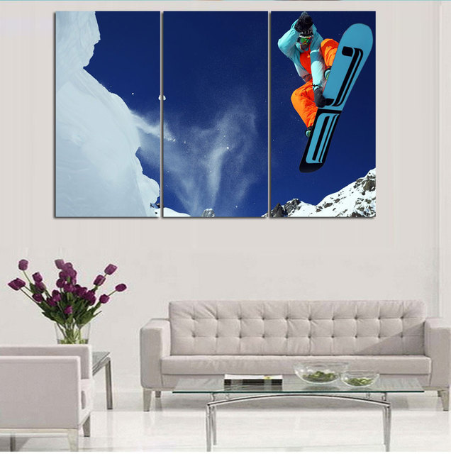3pcs set unframed hd decor craft about skiing frameless posters and prints oil painting on