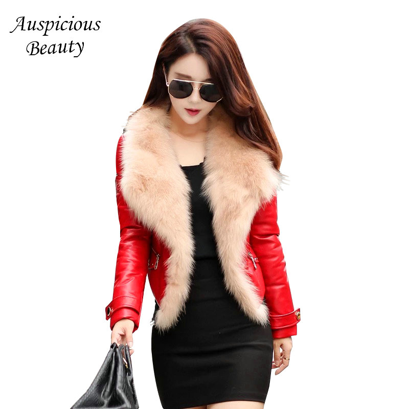 New Brand Women Winter Down Jackets Fur Collar Sheepskin Leather Down Jacket Female Short Outwear High Quality Jacket CXM391