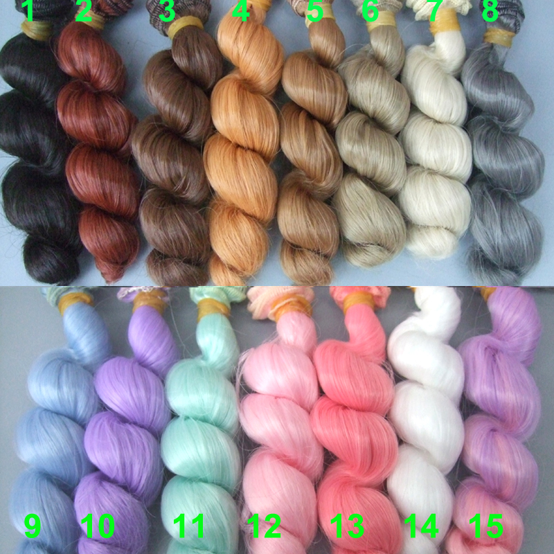 1piece 15cm doll wigs curly wave pink purple green blue yellow grey black color hair for SD AD bjd doll Hair DIY fishtail braid with hair accessory