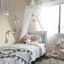 Children Crib Baby Bed Tassels Canopy, Round Dome Hanging Valance Kids Play Tent Mosquito Net Curtain Room Decor White Grey Pink недорого