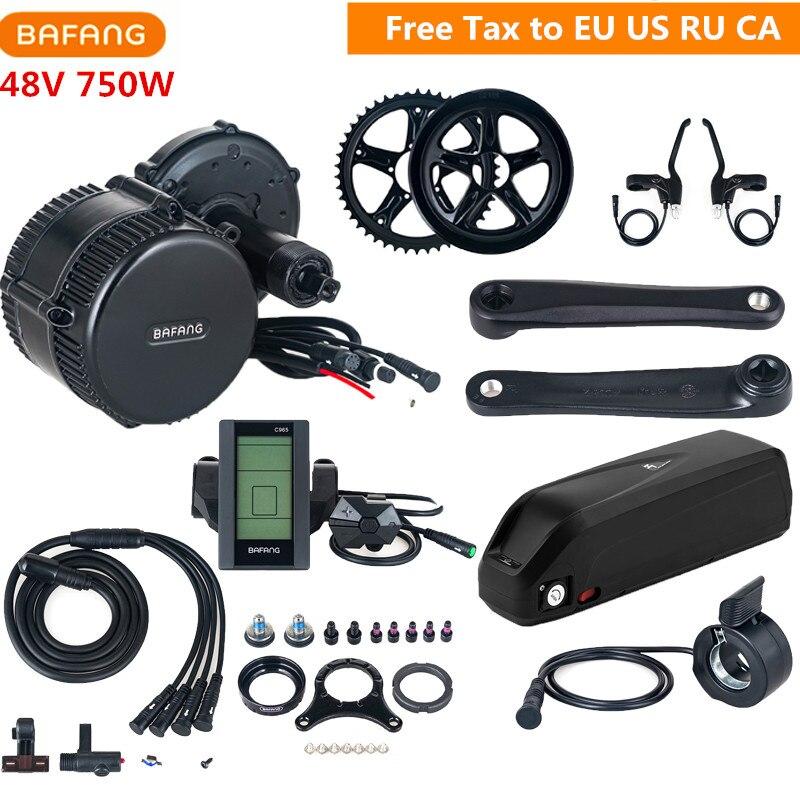 Bafang 8fun 48 V 750 W BBS02B Kits de Conversion EBike moteur d'entraînement moyen avec batterie au Lithium 48 V 13AH C961 C965 EU US RU taxe gratuite