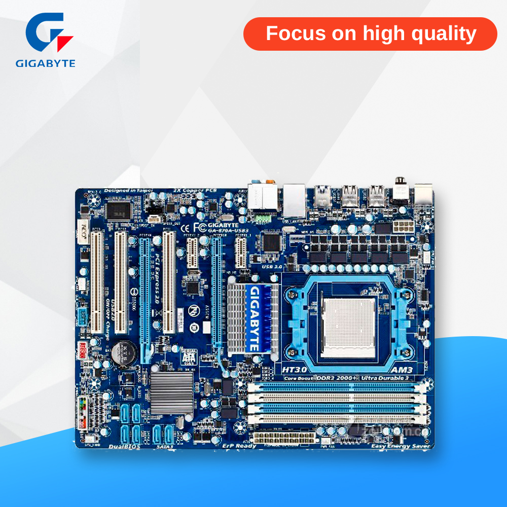 Gigabyte GA-870A-USB3 Original Used Desktop Motherboard 870 Socket AM3 DDR3 SATA3 USB3.0 ATX msi original zh77a g43 motherboard ddr3 lga 1155 for i3 i5 i7 cpu 32gb usb3 0 sata3 h77 motherboard