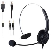 Dual 3.5 Mm Headsets Aux Hoofdtelefoon Usb Callcenter Single Side Hoofdtelefoon Ruisonderdrukking Microfoon 8 Uur Klantenservice
