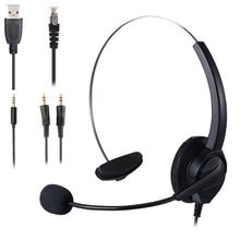 Podwójne słuchawki 3.5mm słuchawki Aux USB Call Center jednostronnie słuchawki redukcja szumów mikrofon 8 godzin obsługa klienta